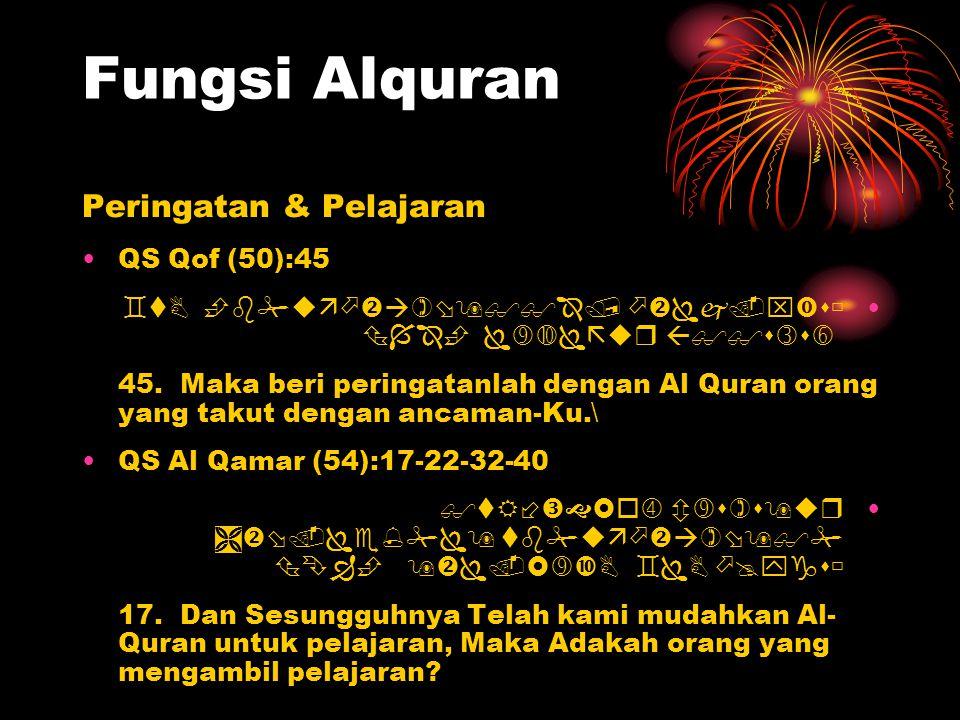 Fungsi Alquran Peringatan & Pelajaran QS Qof (50):45       45. Maka beri peringatanlah dengan Al Quran or