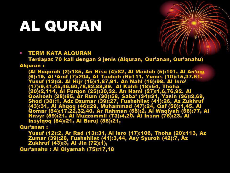 AL QURAN TERM KATA ALQURAN Terdapat 70 kali dengan 3 jenis (Alquran, Qur'anan, Qur'anahu) Alquran : (Al Baqorah (2):185, An Nisa (4):82, Al Maidah (5)