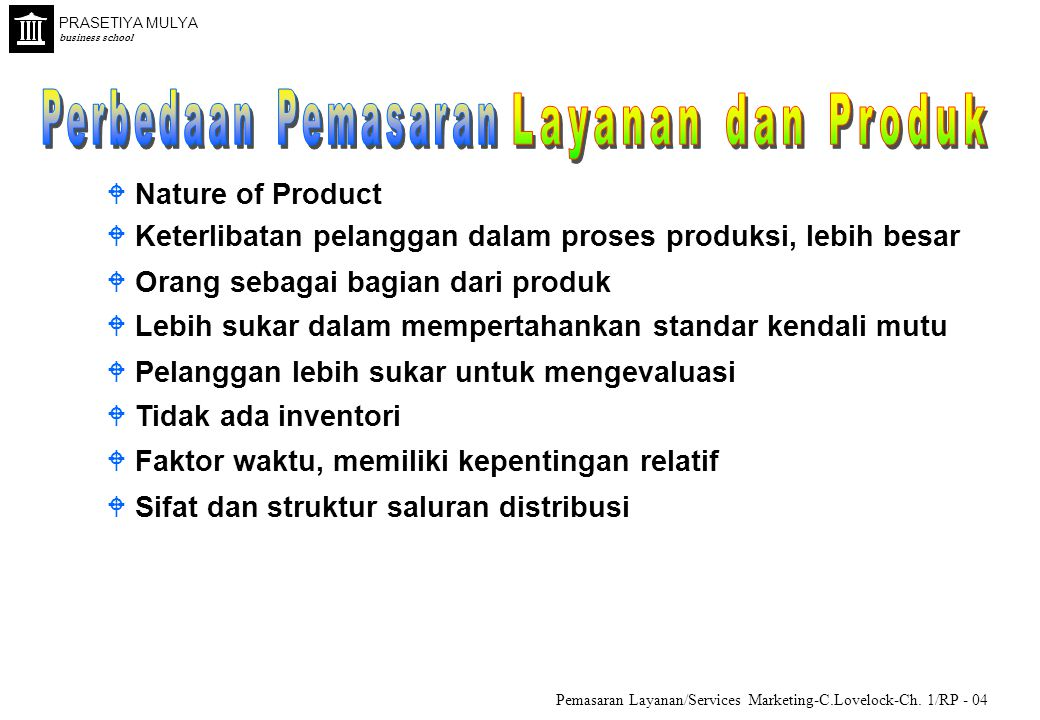 business school PRASETIYA MULYA Pemasaran Layanan/MM-P.Kotler-Ch. 18/RP - 02 Sentral Suplementer People Based Equipment Based