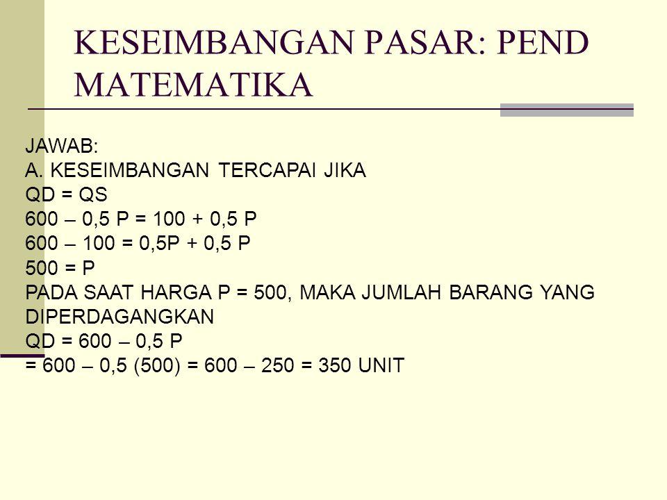 KESEIMBANGAN PASAR: PEND MATEMATIKA JAWAB: A. KESEIMBANGAN TERCAPAI JIKA QD = QS 600 – 0,5 P = 100 + 0,5 P 600 – 100 = 0,5P + 0,5 P 500 = P PADA SAAT