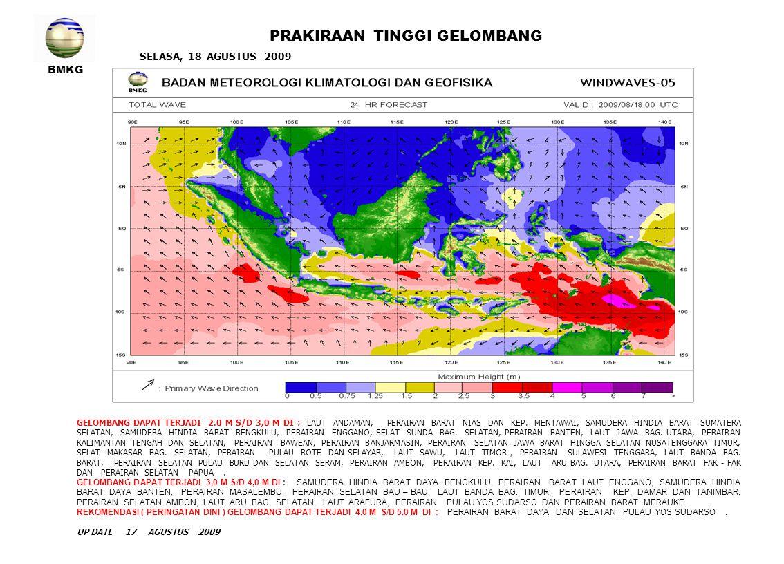 BMKG RABU, 19 AGUSTUS 2009 PRAKIRAAN TINGGI GELOMBANG GELOMBANG DAPAT TERJADI 2.0 M S/D 3,0 M DI : LAUT ANDAMAN, PERAIRAN BARAT KEP.