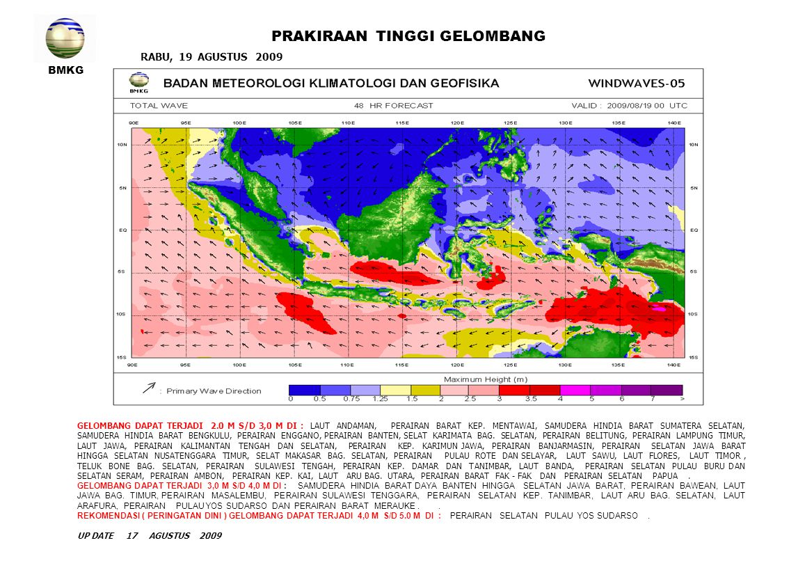 BMKG RABU, 19 AGUSTUS 2009 PRAKIRAAN TINGGI GELOMBANG GELOMBANG DAPAT TERJADI 2.0 M S/D 3,0 M DI : LAUT ANDAMAN, PERAIRAN BARAT KEP. MENTAWAI, SAMUDER