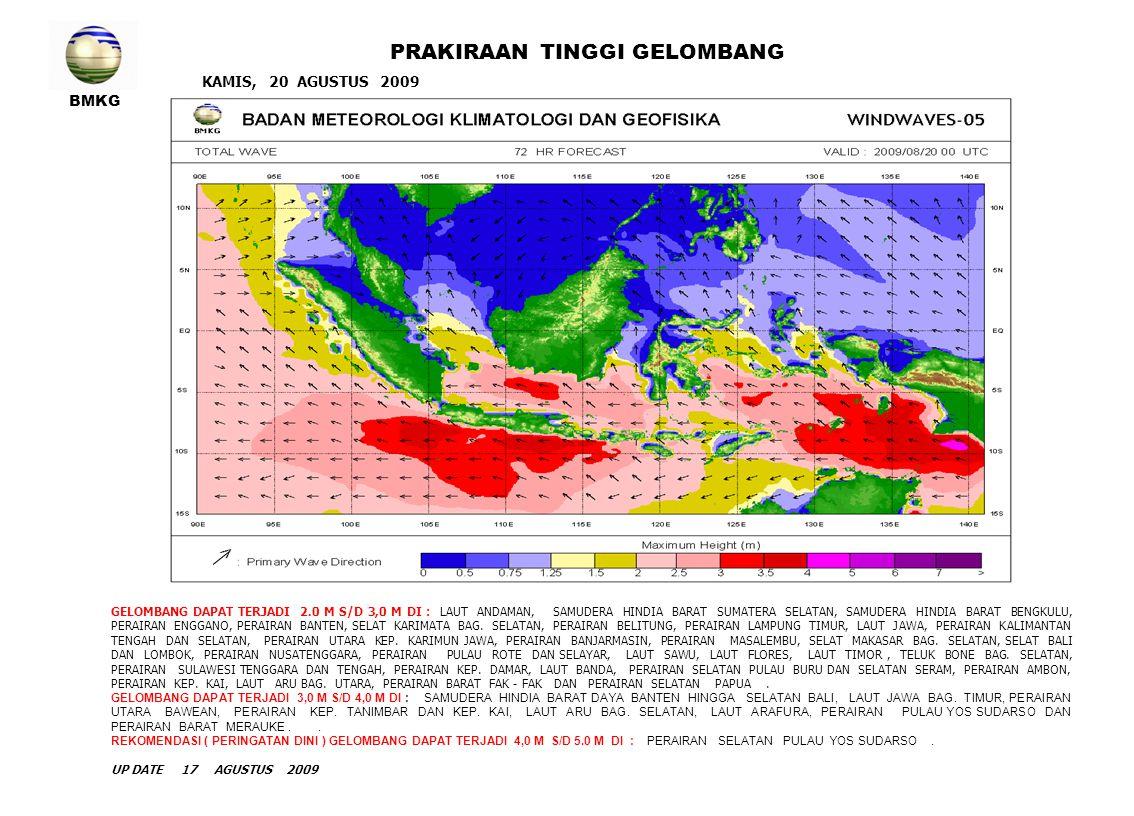 BMKG KAMIS, 20 AGUSTUS 2009 PRAKIRAAN TINGGI GELOMBANG GELOMBANG DAPAT TERJADI 2.0 M S/D 3,0 M DI : LAUT ANDAMAN, SAMUDERA HINDIA BARAT SUMATERA SELAT