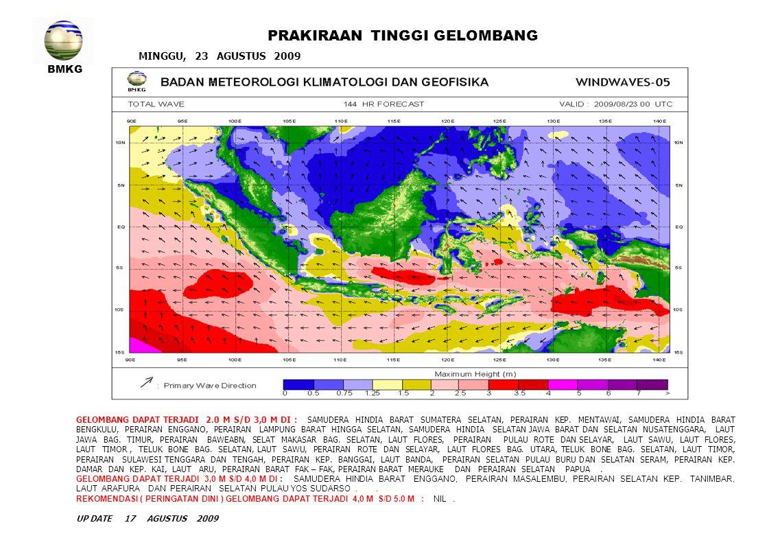 BMKG MINGGU, 23 AGUSTUS 2009 PRAKIRAAN TINGGI GELOMBANG GELOMBANG DAPAT TERJADI 2.0 M S/D 3,0 M DI : SAMUDERA HINDIA BARAT SUMATERA SELATAN, PERAIRAN