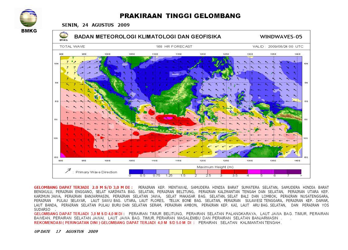 BMKG SENIN, 24 AGUSTUS 2009 PRAKIRAAN TINGGI GELOMBANG GELOMBANG DAPAT TERJADI 2.0 M S/D 3,0 M DI : PERAIRAN KEP. MENTAWAI, SAMUDERA HINDIA BARAT SUMA