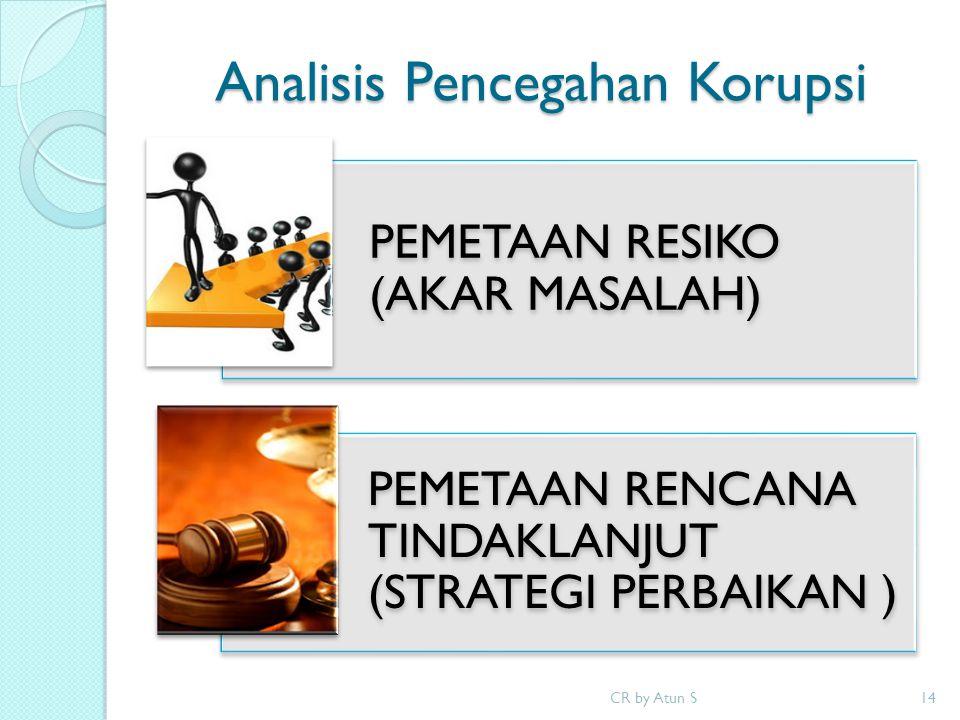 Analisis Pencegahan Korupsi PEMETAAN RESIKO (AKAR MASALAH) PEMETAAN RENCANA TINDAKLANJUT (STRATEGI PERBAIKAN ) 14CR by Atun S