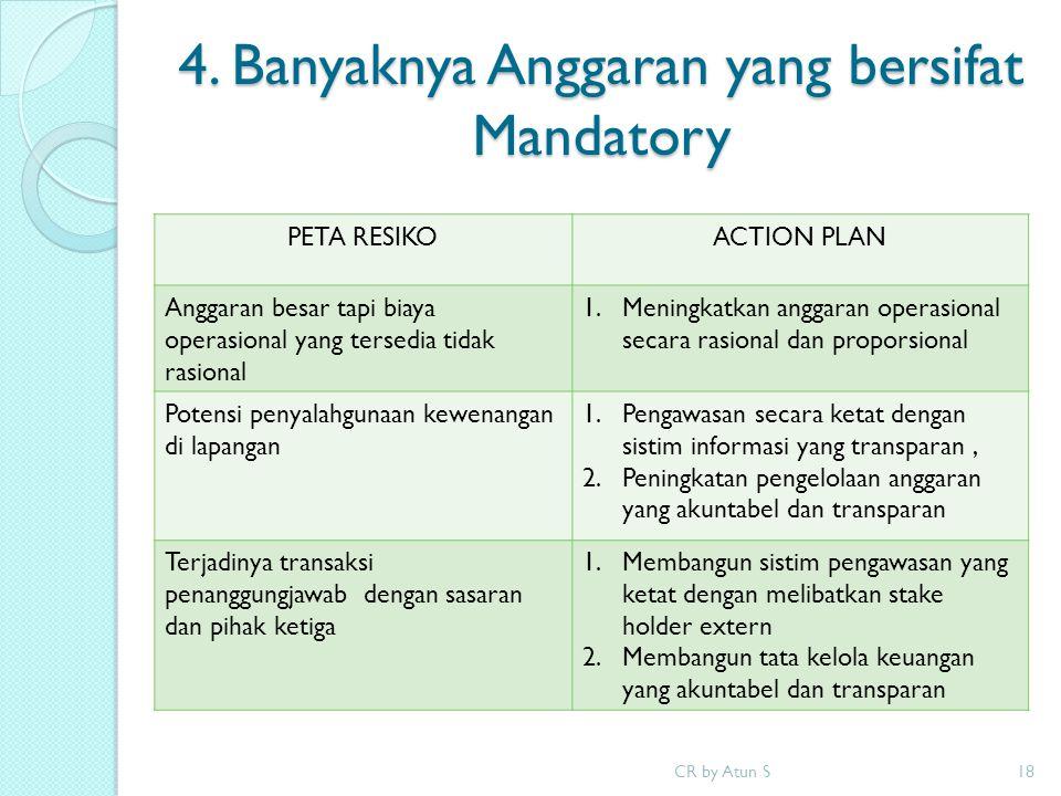 4. Banyaknya Anggaran yang bersifat Mandatory CR by Atun S18 PETA RESIKOACTION PLAN Anggaran besar tapi biaya operasional yang tersedia tidak rasional