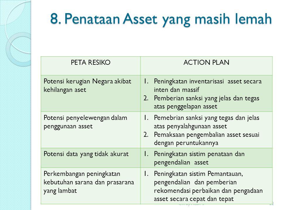 8. Penataan Asset yang masih lemah CR by Atun S22 PETA RESIKOACTION PLAN Potensi kerugian Negara akibat kehilangan aset 1.Peningkatan inventarisasi as