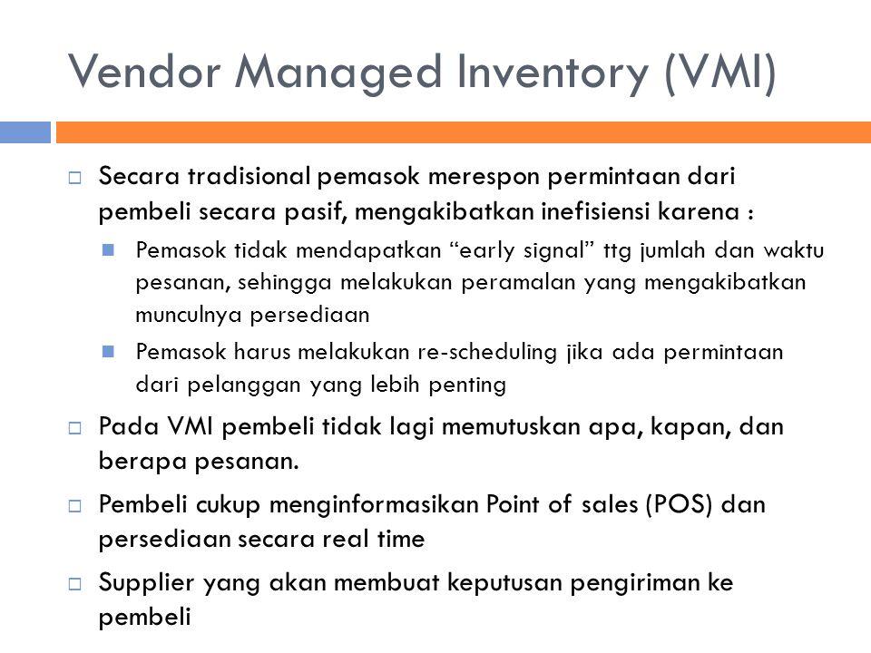 Vendor Managed Inventory (VMI)  Secara tradisional pemasok merespon permintaan dari pembeli secara pasif, mengakibatkan inefisiensi karena : Pemasok
