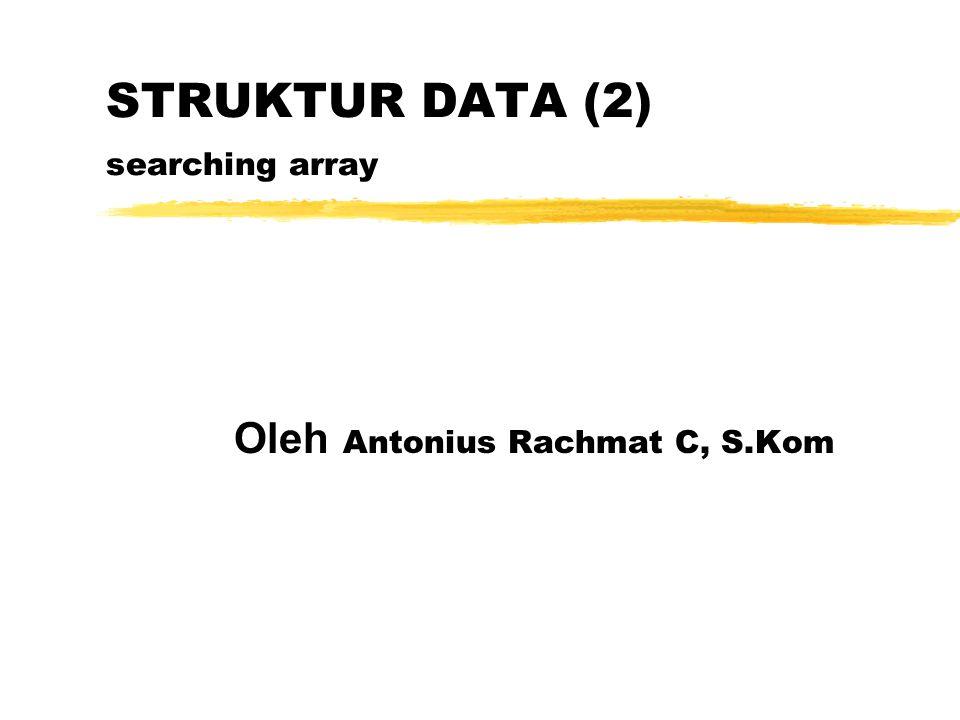 STRUKTUR DATA (2) searching array Oleh Antonius Rachmat C, S.Kom