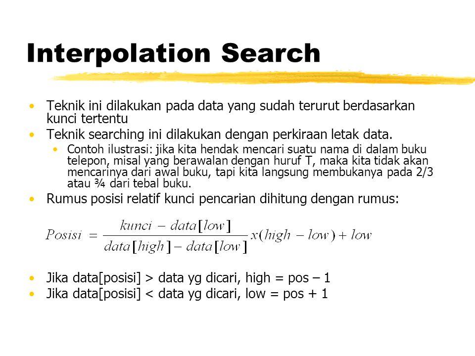 Interpolation Search Teknik ini dilakukan pada data yang sudah terurut berdasarkan kunci tertentu Teknik searching ini dilakukan dengan perkiraan letak data.