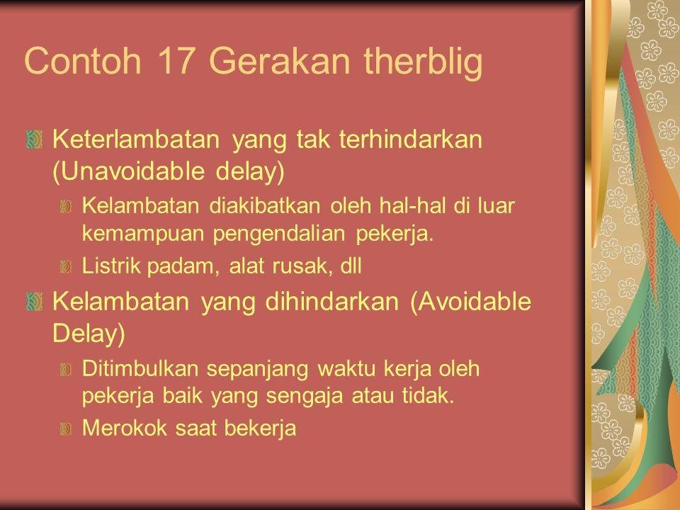 Contoh 17 Gerakan therblig Keterlambatan yang tak terhindarkan (Unavoidable delay) Kelambatan diakibatkan oleh hal-hal di luar kemampuan pengendalian