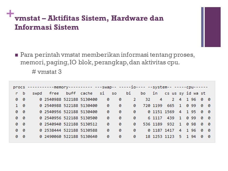 + vmstat – Aktifitas Sistem, Hardware dan Informasi Sistem Para perintah vmstat memberikan informasi tentang proses, memori, paging, IO blok, perangka