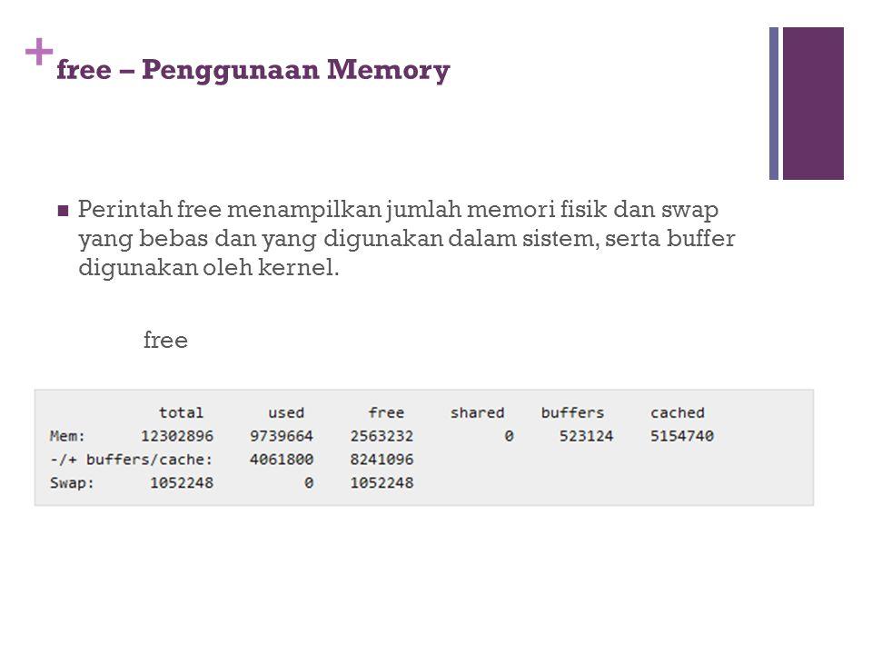 + free – Penggunaan Memory Perintah free menampilkan jumlah memori fisik dan swap yang bebas dan yang digunakan dalam sistem, serta buffer digunakan o
