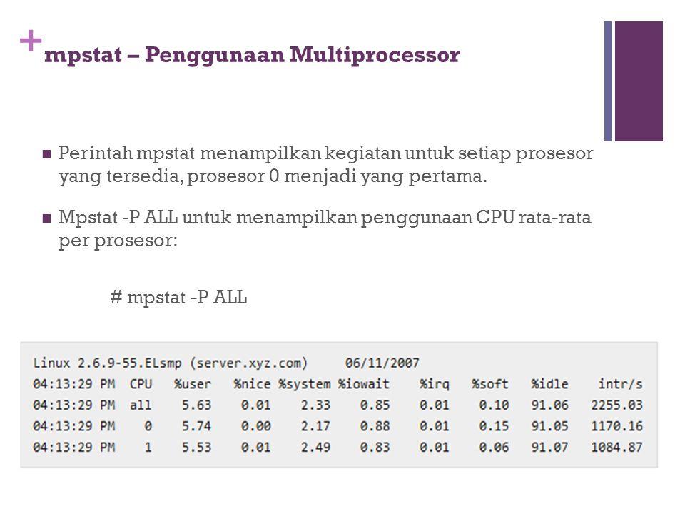 + mpstat – Penggunaan Multiprocessor Perintah mpstat menampilkan kegiatan untuk setiap prosesor yang tersedia, prosesor 0 menjadi yang pertama. Mpstat