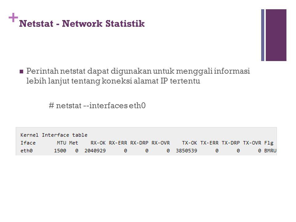 + Netstat - Network Statistik Perintah netstat dapat digunakan untuk menggali informasi lebih lanjut tentang koneksi alamat IP tertentu # netstat --in