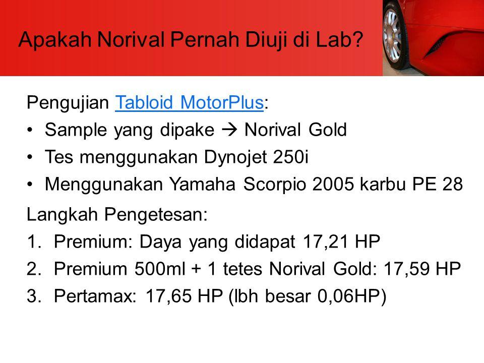 Apakah Norival Pernah Diuji di Lab? Pengujian Tabloid MotorPlus:Tabloid MotorPlus Sample yang dipake  Norival Gold Tes menggunakan Dynojet 250i Mengg