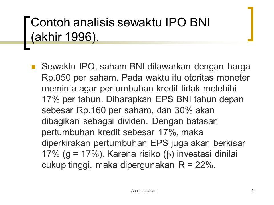 Analisis saham10 Contoh analisis sewaktu IPO BNI (akhir 1996).