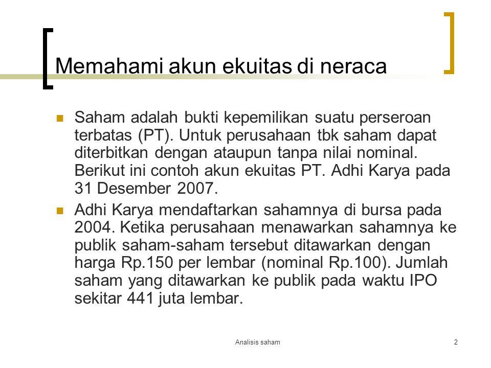 Analisis saham3 Akun ekuitas of PT.