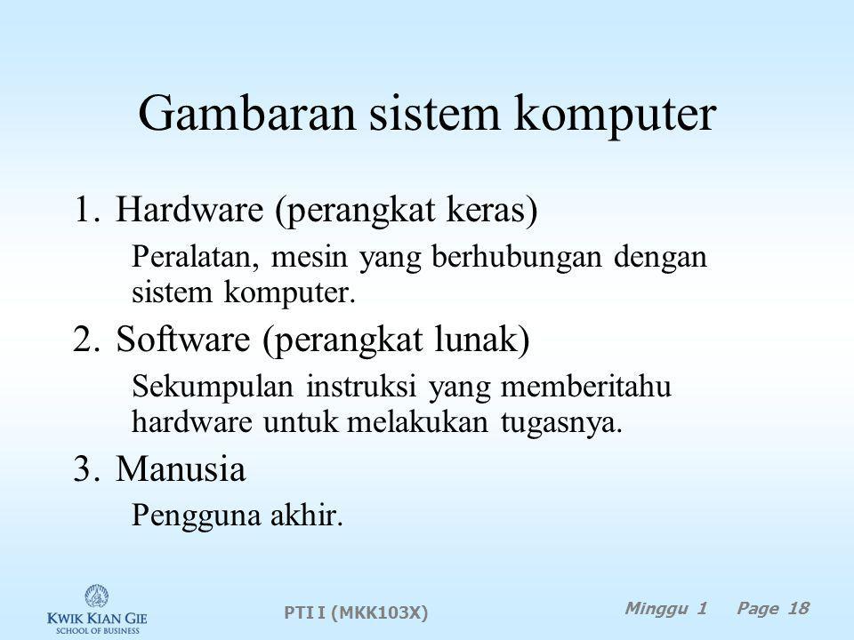 Gambaran sistem komputer 1.Hardware (perangkat keras) Peralatan, mesin yang berhubungan dengan sistem komputer.