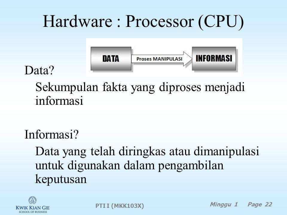 Hardware : Processor (CPU) Data.Sekumpulan fakta yang diproses menjadi informasi Informasi.