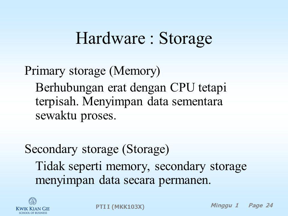 Hardware : Storage Primary storage (Memory) Berhubungan erat dengan CPU tetapi terpisah.