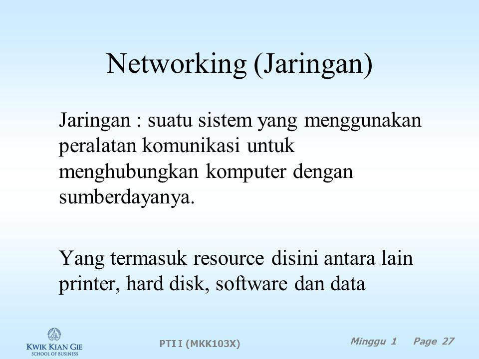 Networking (Jaringan) Jaringan : suatu sistem yang menggunakan peralatan komunikasi untuk menghubungkan komputer dengan sumberdayanya.