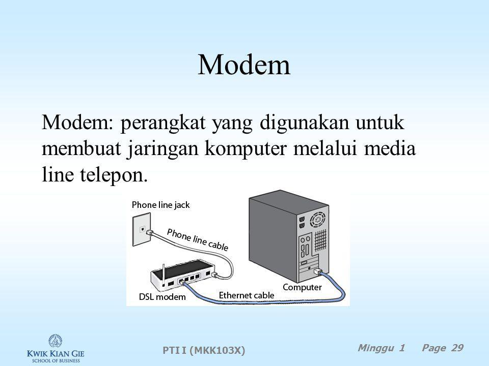 Modem Modem: perangkat yang digunakan untuk membuat jaringan komputer melalui media line telepon.