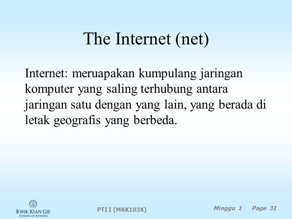 The Internet (net) Internet: meruapakan kumpulang jaringan komputer yang saling terhubung antara jaringan satu dengan yang lain, yang berada di letak geografis yang berbeda.