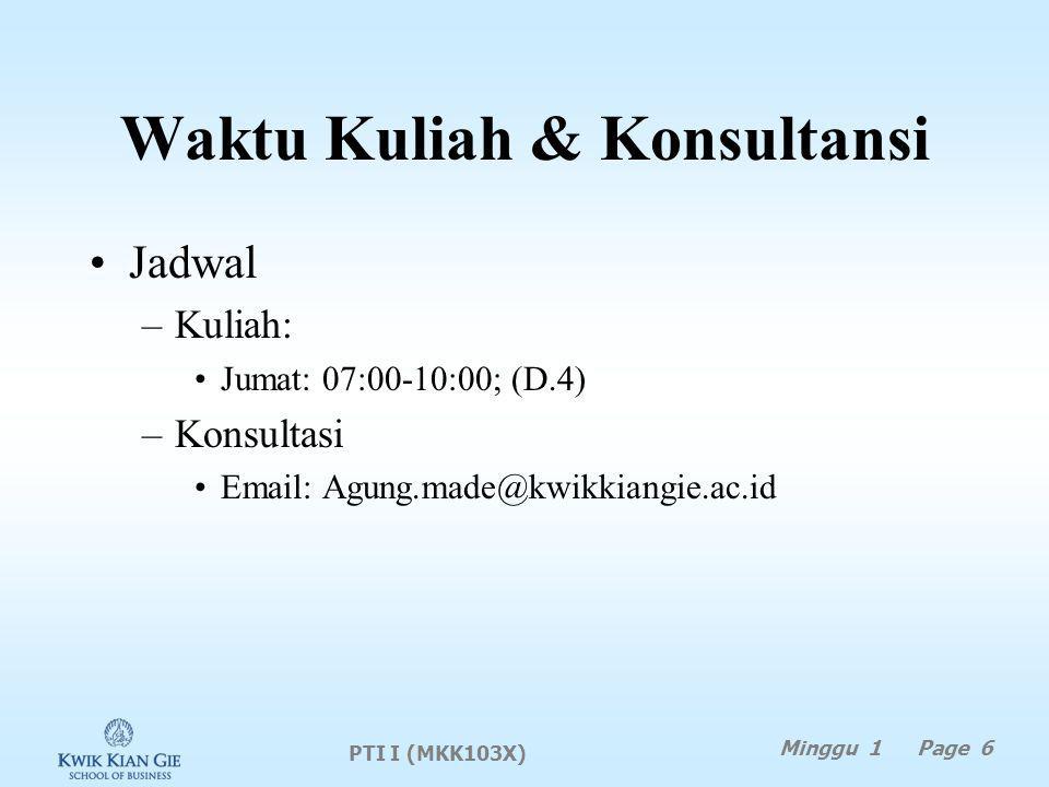 Waktu Kuliah & Konsultansi Jadwal –Kuliah: Jumat: 07:00-10:00; (D.4) –Konsultasi Email: Agung.made@kwikkiangie.ac.id PTI I (MKK103X) Minggu 1 Page 6
