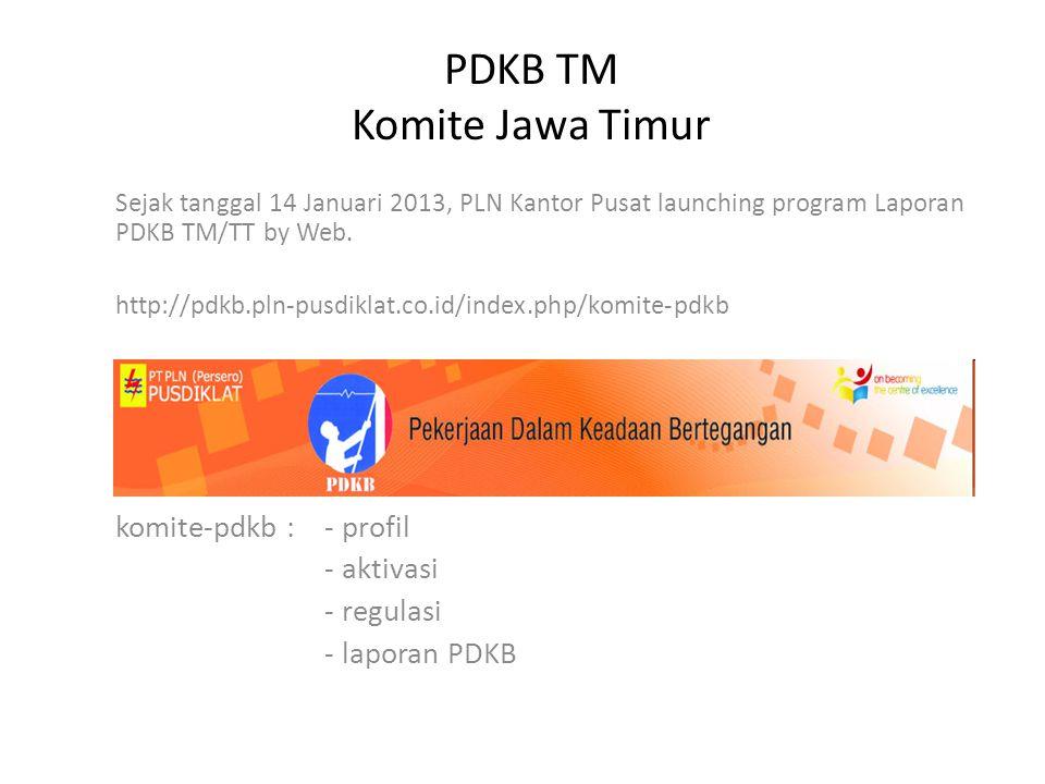 PDKB TM Komite Jawa Timur Sejak tanggal 14 Januari 2013, PLN Kantor Pusat launching program Laporan PDKB TM/TT by Web.