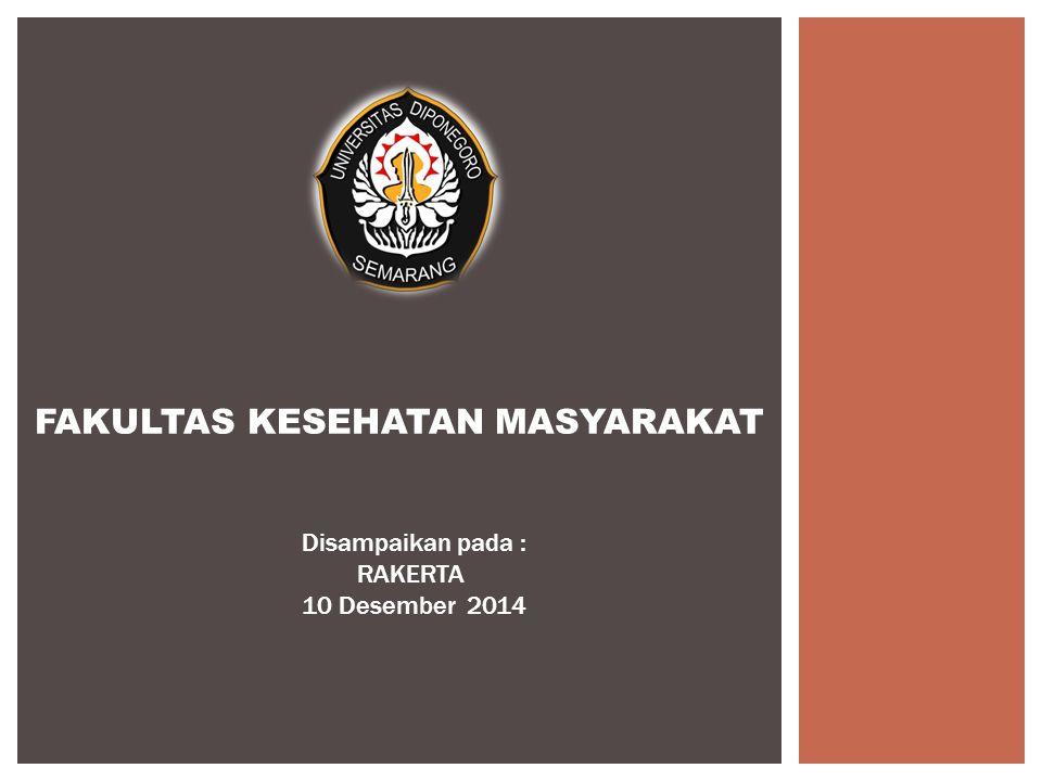 FAKULTAS KESEHATAN MASYARAKAT Disampaikan pada : RAKERTA 10 Desember 2014
