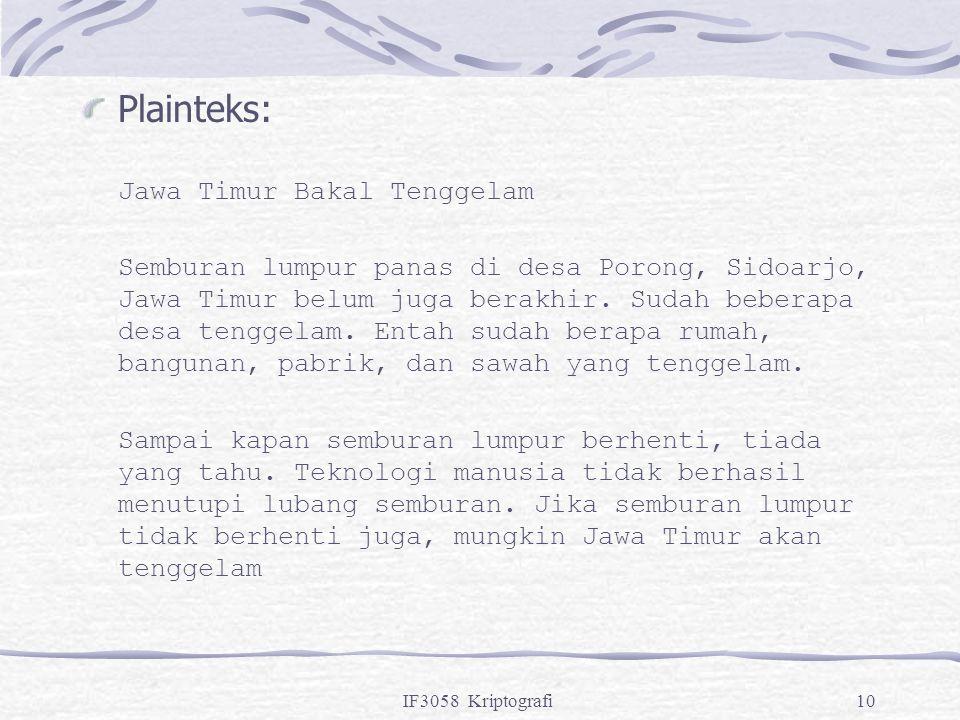 IF3058 Kriptografi10 Plainteks: Jawa Timur Bakal Tenggelam Semburan lumpur panas di desa Porong, Sidoarjo, Jawa Timur belum juga berakhir. Sudah beber