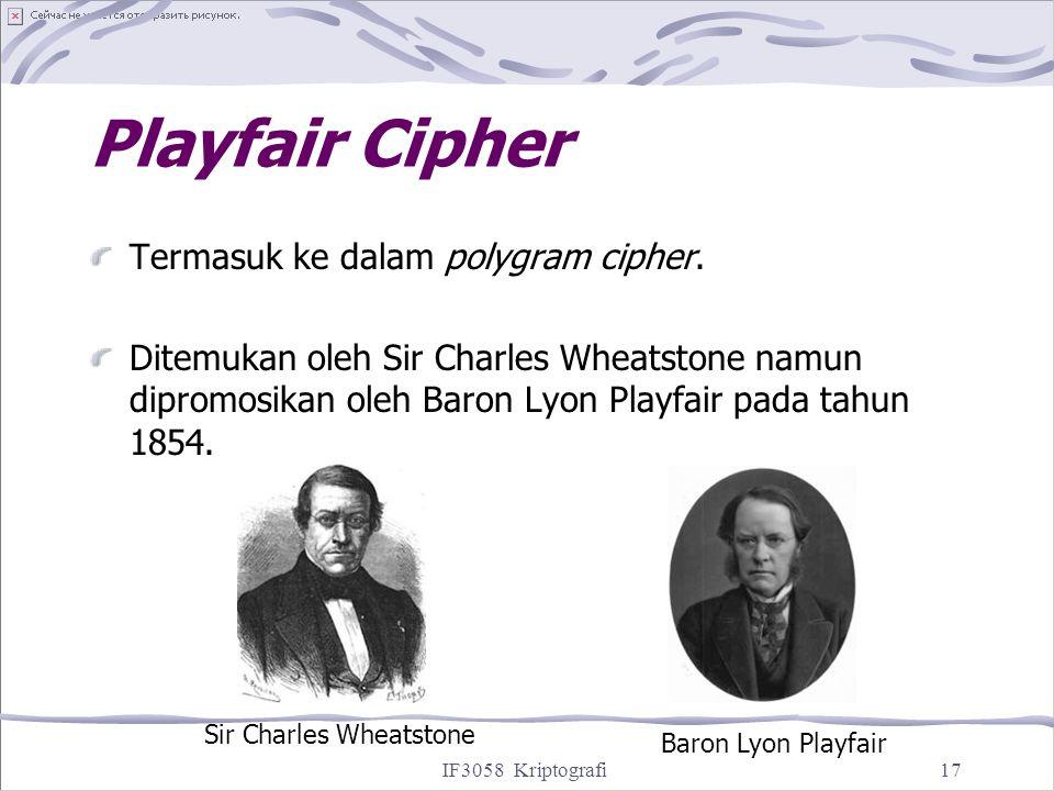 IF3058 Kriptografi17 Playfair Cipher Termasuk ke dalam polygram cipher. Ditemukan oleh Sir Charles Wheatstone namun dipromosikan oleh Baron Lyon Playf