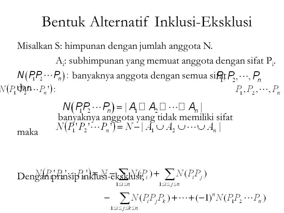 Bentuk Alternatif Inklusi-Eksklusi Misalkan S: himpunan dengan jumlah anggota N.