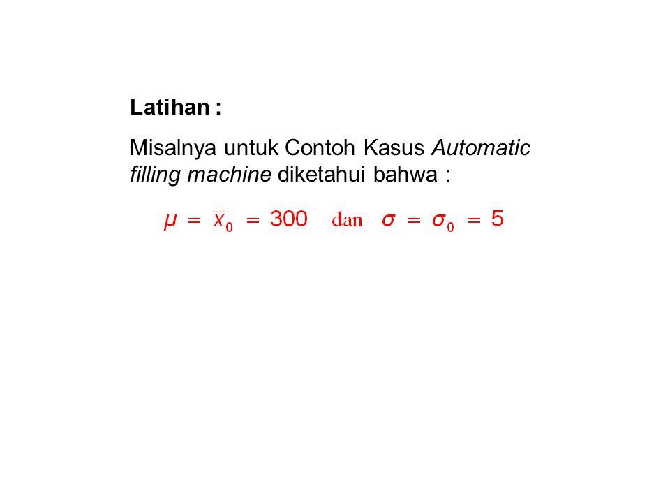 Latihan : Misalnya untuk Contoh Kasus Automatic filling machine diketahui bahwa :