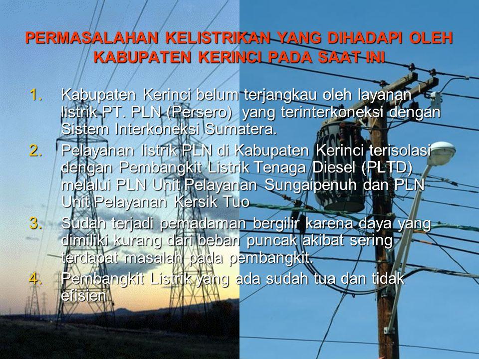 PERMASALAHAN KELISTRIKAN YANG DIHADAPI OLEH KABUPATEN KERINCI PADA SAAT INI 1.Kabupaten Kerinci belum terjangkau oleh layanan listrik PT. PLN (Persero
