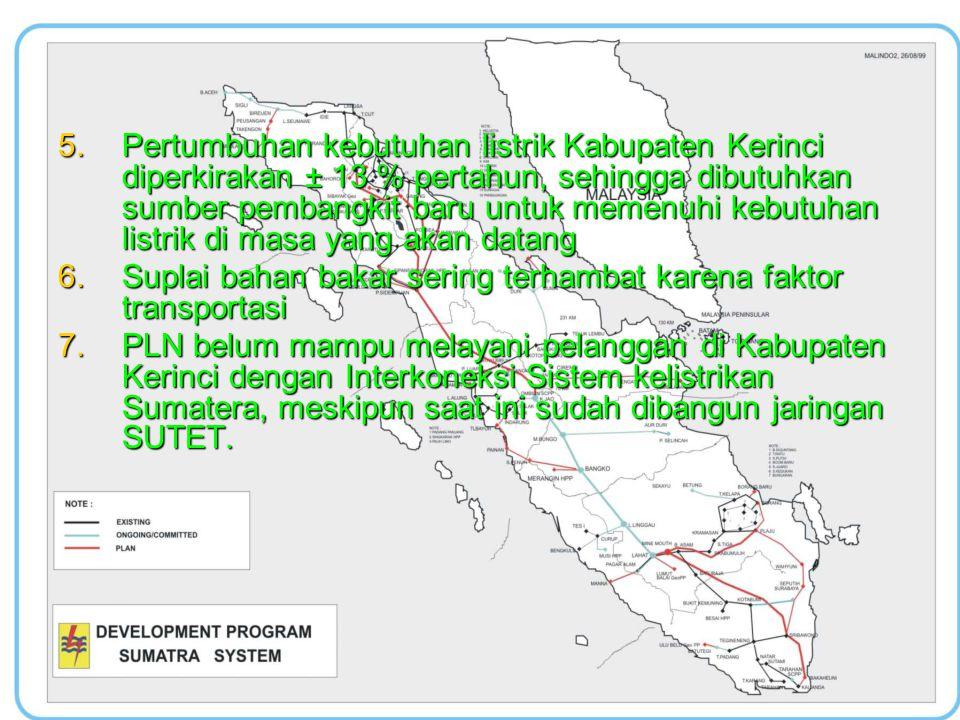 5.Pertumbuhan kebutuhan listrik Kabupaten Kerinci diperkirakan ± 13 % pertahun, sehingga dibutuhkan sumber pembangkit baru untuk memenuhi kebutuhan li