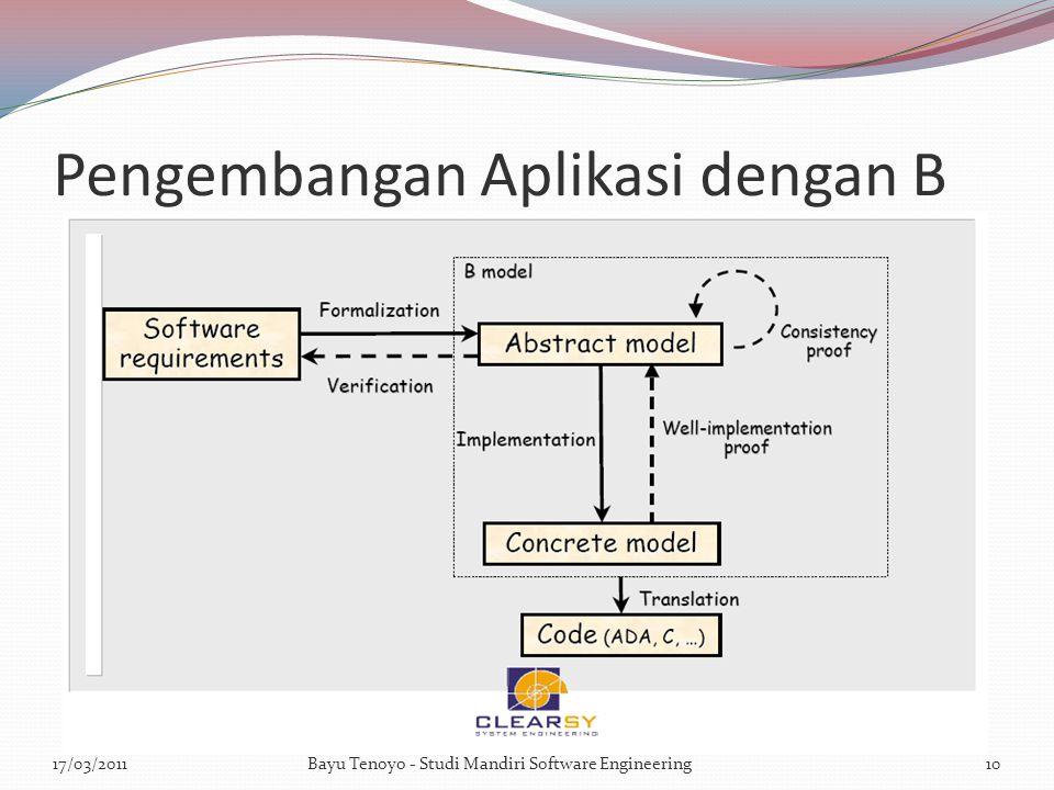 Pengembangan Aplikasi dengan B 17/03/2011Bayu Tenoyo - Studi Mandiri Software Engineering10