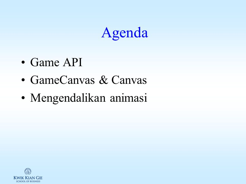 Web Teknologi 3 (MKB721C) Minggu 1 2 Page 1 MINGGU 12 Web Teknologi 3 (MKB721C) Pokok Bahasan: – Game API Tujuan Instruksional Khusus: –Siswa memahami perbedaan GameCanvas & Canvas –Siswa memahami bagaimana penggunaan Game API