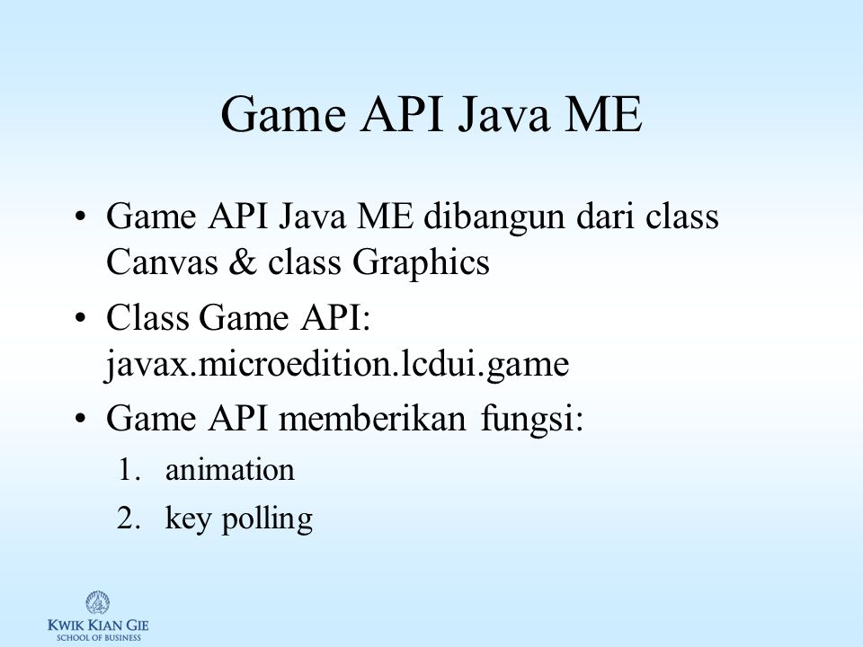 Agenda Game API GameCanvas & Canvas Mengendalikan animasi