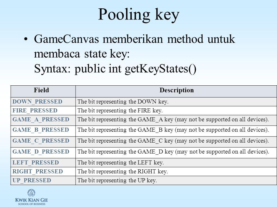 Mengendalikan animasi dengan GameCanvas Penggunaan GameCanvas tidak sama dengan Canvas: –Untuk menggunakan Canvas, cukup dilakukan subclass (extends) dan mendefinisikan metod paint().