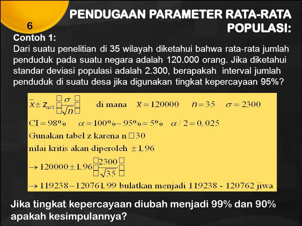 Contoh 2: Dari suatu penelitian di 35 wilayah diketahui bahwa rata-rata jumlah penduduk pada suatu negara adalah 120.000 orang.