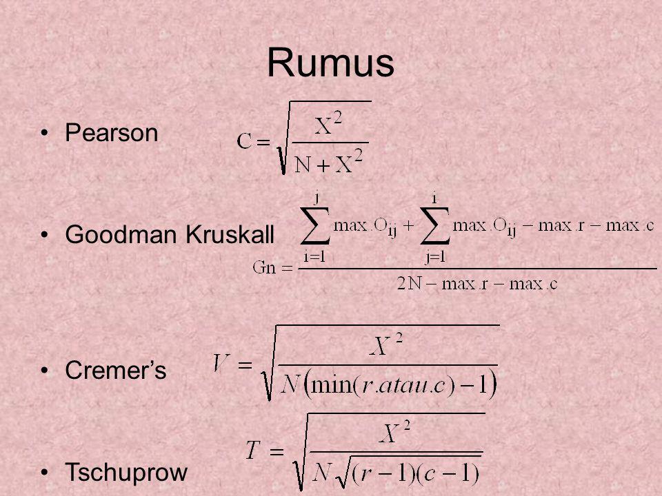 Rumus Pearson Goodman Kruskall Cremer's Tschuprow