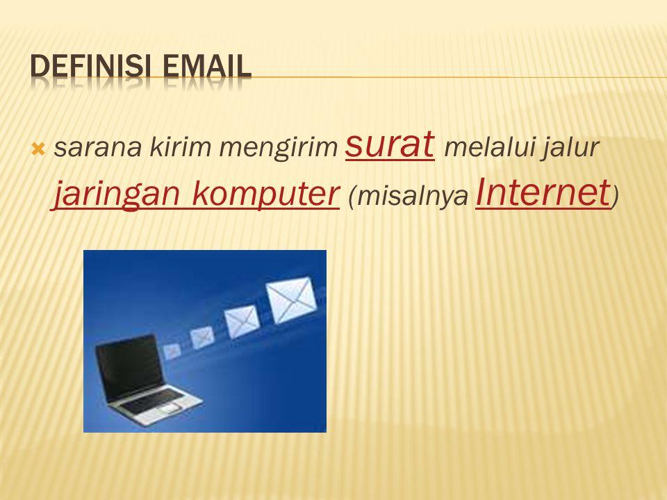  sarana kirim mengirim surat melalui jalur jaringan komputer (misalnya Internet ) surat jaringan komputer Internet