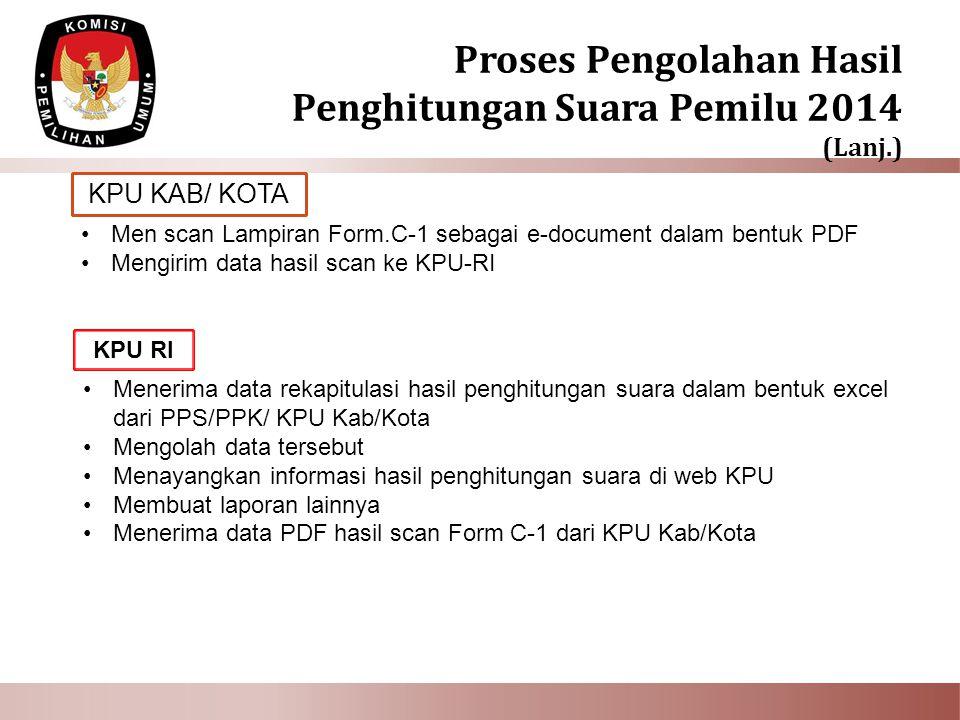 KPU KAB/ KOTA Men scan Lampiran Form.C-1 sebagai e-document dalam bentuk PDF Mengirim data hasil scan ke KPU-RI Menerima data rekapitulasi hasil pengh