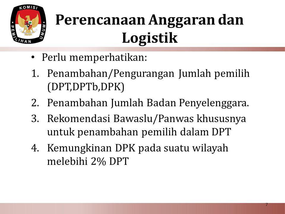 Perencanaan Anggaran dan Logistik Perlu memperhatikan: 1.Penambahan/Pengurangan Jumlah pemilih (DPT,DPTb,DPK) 2.Penambahan Jumlah Badan Penyelenggara.
