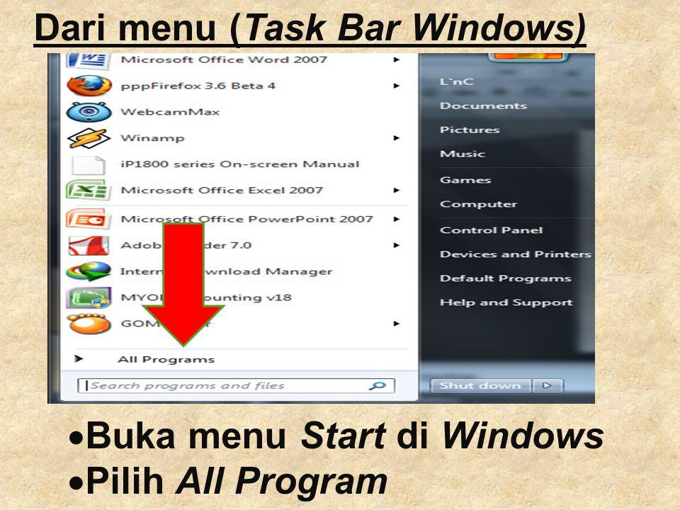 Dari menu (Task Bar Windows)  Buka menu Start di Windows  Pilih All Program