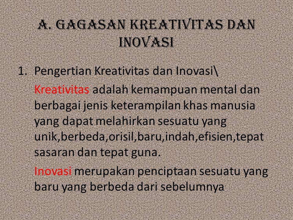 A. GAGASAN KREATIVITAS DAN INOVASI 1.Pengertian Kreativitas dan Inovasi\ Kreativitas adalah kemampuan mental dan berbagai jenis keterampilan khas manu