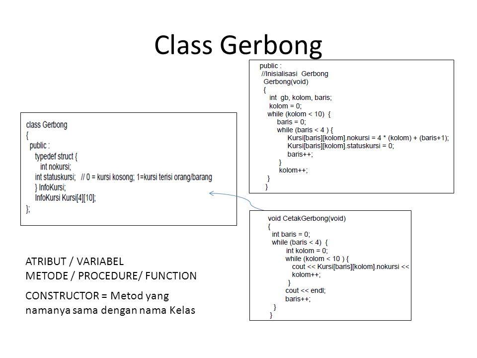 Class Gerbong ATRIBUT / VARIABEL METODE / PROCEDURE/ FUNCTION CONSTRUCTOR = Metod yang namanya sama dengan nama Kelas